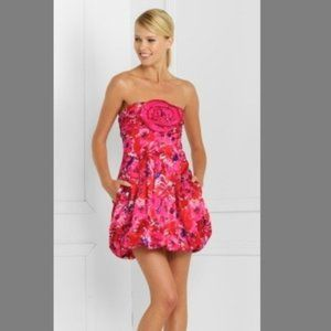 BCBGMAXAZRIA Strapless Bubble Dress Floral Pink 2